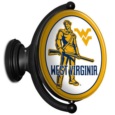West Virginia Mountaineers Rotating Illuminated LED Team Spirit Wall Sign-Oval-Moutaineers 2   Grimm Industries  WV-125-04