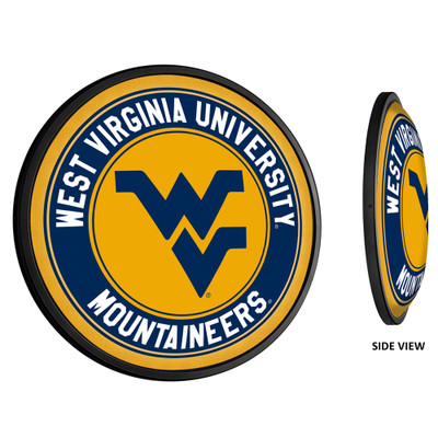 West Virginia Mountaineers Slimline Illuminated LED Team Spirit Wall Sign-Round-Primary Logo   Grimm Industries  WV-130-01