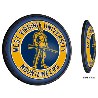 West Virginia Mountaineers Slimline Illuminated LED Team Spirit Wall Sign-Round-Mountaineers | Grimm Industries |WV-130-02
