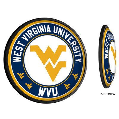 West Virginia Mountaineers Slimline Illuminated LED Team Spirit Wall Sign-Round-Primary Logo 2 | Grimm Industries |WV-130-03