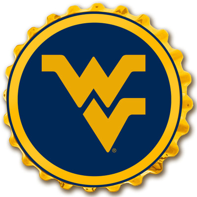 West Virginia Mountaineers Team Spirit Bottle Cap Wall Sign-Primary Logo on Blue | Grimm Industries |WV-210-02