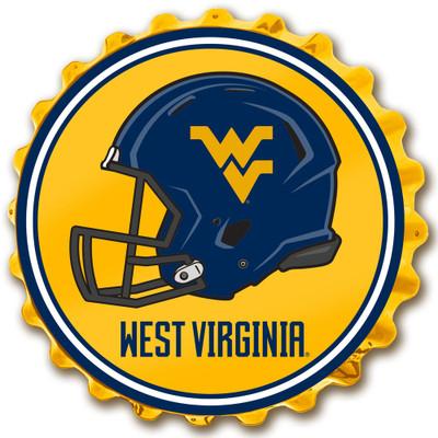 West Virginia Mountaineers Team Spirit Bottle Cap Wall Sign-Helmet on Yellow | Grimm Industries |WV-210-03
