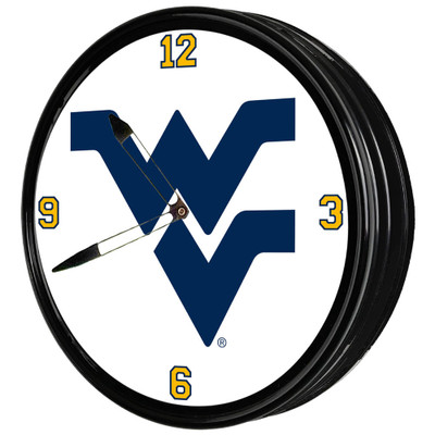 West Virginia Mountaineers 19 inch Illuminated LED Team Spirit Clock-Primary Logo | Grimm Industries |WV-550-01