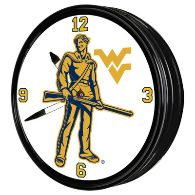 West Virginia Mountaineers 19 inch Illuminated LED Team Spirit Clock-Mountaineers | Grimm Industries |WV-550-02