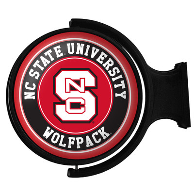 NC State Wolfpack Rotating Illuminated LED Team Spirit Wall Sign-Round-Primary Logo | Grimm Industries |NC-115-01