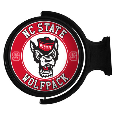 NC State Wolfpack Rotating Illuminated LED Team Spirit Wall Sign-Round-Wolfpack Head | Grimm Industries |NC-115-03
