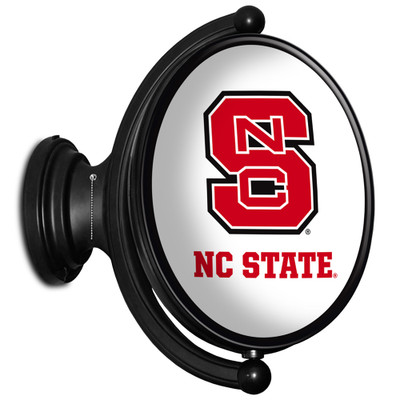 NC State Wolfpack Rotating Illuminated LED Team Spirit Wall Sign-Oval-Primary Logo | Grimm Industries |NC-125-01