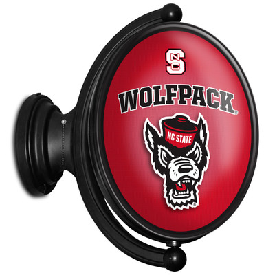 NC State Wolfpack Rotating Illuminated LED Team Spirit Wall Sign-Oval-Wolfpack Head | Grimm Industries |NC-125-03