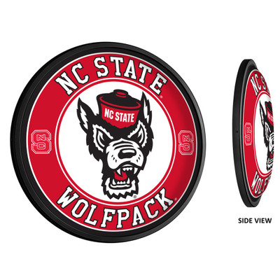 NC State Wolfpack Slimline Illuminated LED Team Spirit Wall Sign-Round-Wolfpack Head | Grimm Industries |NC-130-03
