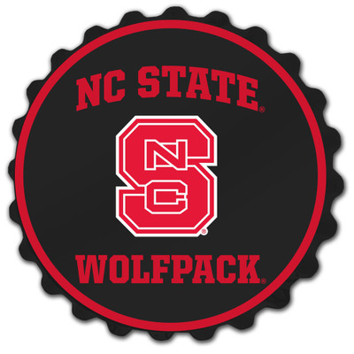NC State Wolfpack Team Spirit Bottle Cap Wall Sign-Primary Logo on Black | Grimm Industries |NC-210-01