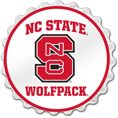 NC State Wolfpack Team Spirit Bottle Cap Wall Sign-Primary Logo on White | Grimm Industries |NC-210-02