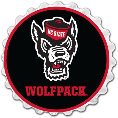 NC State Wolfpack Team Spirit Bottle Cap Wall Sign-Wolfpack on White | Grimm Industries |NC-210-03