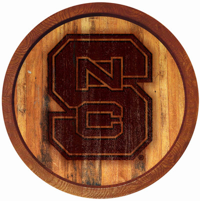 NC State Wolfpack 20 inch Barrel Team Logo Wall Sign-Primary Logo-Branded | Grimm Industries |NC-240-02