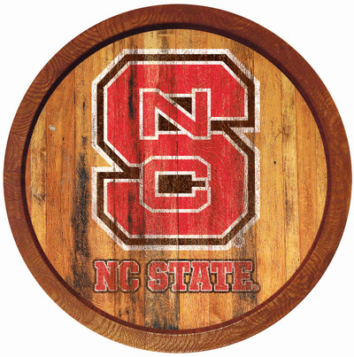 NC State Wolfpack 20 inch Barrel Team Logo Wall Sign-Primary Logo-Weathered | Grimm Industries |NC-240-03