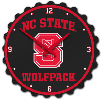 NC State Wolfpack Team Spirit Bottle Cap Wall Clock-Primary Logo on Black | Grimm Industries |NC-540-01
