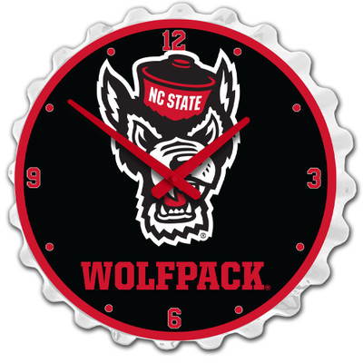 NC State Wolfpack Team Spirit Bottle Cap Wall Clock-Wolfpack on White | Grimm Industries |NC-540-03