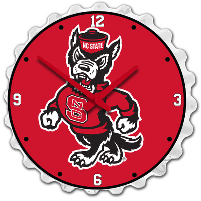 NC State Wolfpack Team Spirit Bottle Cap Wall Clock-Wolf on White | Grimm Industries |NC-540-04