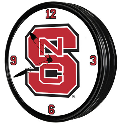 NC State Wolfpack 19 inch Illuminated LED Team Spirit Clock-Primary Logo | Grimm Industries |NC-550-01