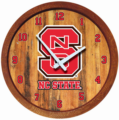 NC State Wolfpack 20 inch Barrel Team Logo Wall Clock-Primary Logo-Color | Grimm Industries |NC-560-01