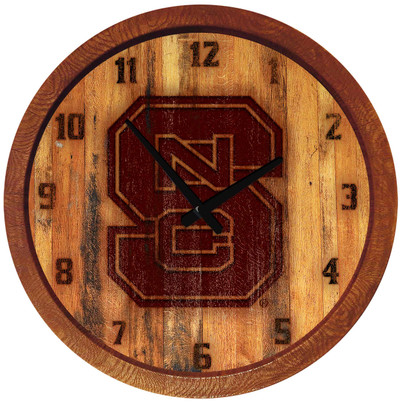 NC State Wolfpack 20 inch Barrel Team Logo Wall Clock-Primary Logo-Branded | Grimm Industries |NC-560-02