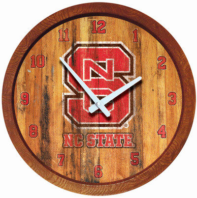 NC State Wolfpack 20 inch Barrel Team Logo Wall Clock-Primary Logo-Weathered | Grimm Industries |NC-560-03