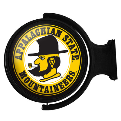 Appalachian State Mountaineers Rotating Illuminated LED Team Spirit Wall Sign-Round-Secondary Logo | Grimm Industries |AP-115-02