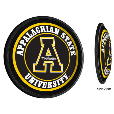 Appalachian State Mountaineers Slimline Illuminated LED Team Spirit Wall Sign-Round-Primary Logo | Grimm Industries |AP-130-01