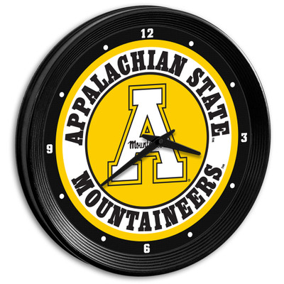 Appalachian State Mountaineers 15 inch Team Spirit Ribbed Wall Clock-Primary Logo | Grimm Industries |AP-530-01
