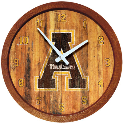 Appalachian State Mountaineers 20 inch Barrel Team Logo Wall Clock-Primary Logo-Weathered | Grimm Industries |AP-560-03
