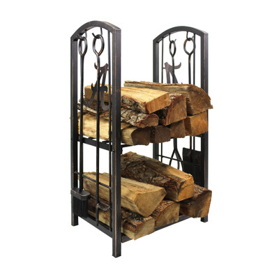 Michigan Wolverines Fireplace Wood Holder and Tool Set  | Imperial International | 738-3009