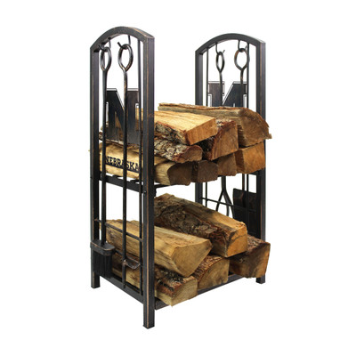 Nebraska Huskers Fireplace Wood Holder and Tool Set  | Imperial International | 738-3010