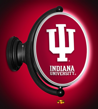 Indiana Hoosiers Rotating Illuminated LED Team Spirit Wall Sign-Round-Primary Logo | Grimm Industries |IN-125-01