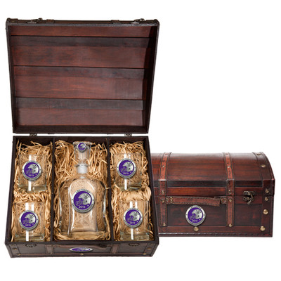 LSU Tigers National Champions Capitol Decanter Chest Set | Heritage Pewter | CPTC11226EP