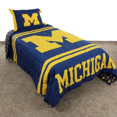 Michigan Wolverines Reversible Comforter Set - Queen| College Covers | MICNPCMQU