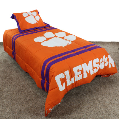 Clemson Tigers Reversible Comforter Set | College Covers | CLENPCMTW