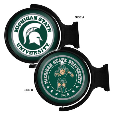 MSU Spartans Rotating Illuminated LED Team Spirit Wall Sign Round-2 Sided | Grimm Industries |MS-115-04