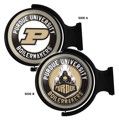 Purdue Boilermakers Rotating Illuminated LED Team Spirit Wall Sign Round-2 Sided | Grimm Industries |PU-115-03