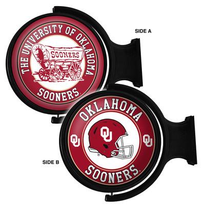 Oklahoma Sooners Rotating Illuminated LED Team Spirit Wall Sign Round-2 Sided | Grimm Industries |OK-115-05
