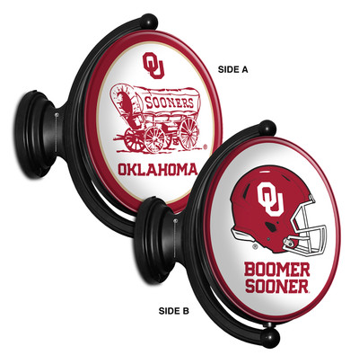 Oklahoma Sooners Rotating Illuminated LED Team Spirit Wall Sign Oval -2 Sided | Grimm Industries |OK-125-04