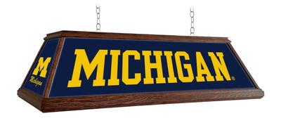"Michigan Wolverines 49"" Premium Deluxe Wood Pool Table Light | Grimm Industries |UM-330-01"