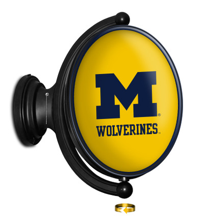 Michigan Wolverines Rotating Illuminated LED Team Spirit Wall Sign-Oval | Grimm Industries |UM-125-0