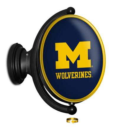 Michigan Wolverines Rotating Illuminated LED Team Spirit Wall Sign-Oval | Grimm Industries |UM-125-02