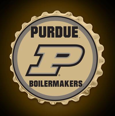 Purdue Boilermakers Team Spirit Bottle Cap Wall Sign | Grimm Industries |PU-210-02