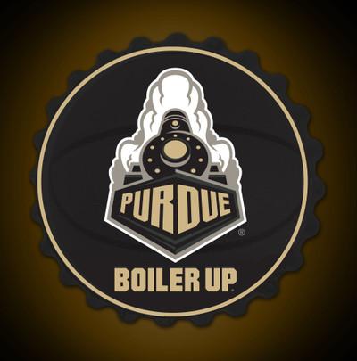 Purdue Boilermakers Team Spirit Bottle Cap Wall Sign | Grimm Industries |PU-210-03