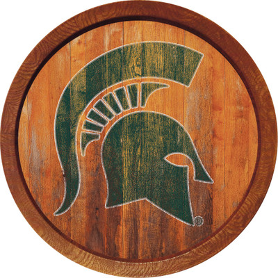 Michigan State Spartans 20 inch Barrel Team Logo Wall Sign--Primary Logo-Weathered | Grimm Industries |MS-240-03