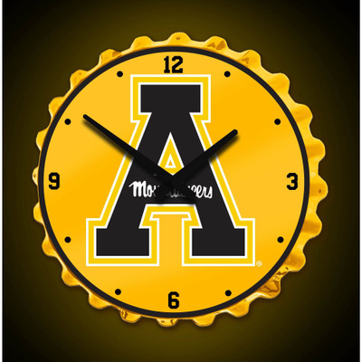 Appalachian State Mountaineers Team Spirit Bottle Cap Wall Clock- Yellow| Grimm Industries |AP-540-01