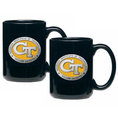 Georgia Tech Yellow Jackets Coffee Mug Set of 2 | Heritage Pewter | CM10463EYBK