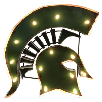Michigan State Spartans Recycled Metal Wall Decor Illuminated | LRT SALES | SPARTANHEADWDLGT