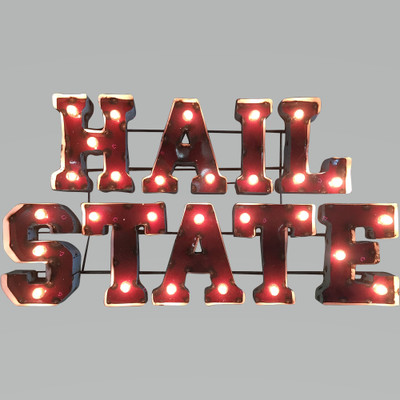 Mississippi State Bulldogs Recycled Metal Wall Decor Hail State Illuminated | LRT SALES | HAILSTATEWDLGT