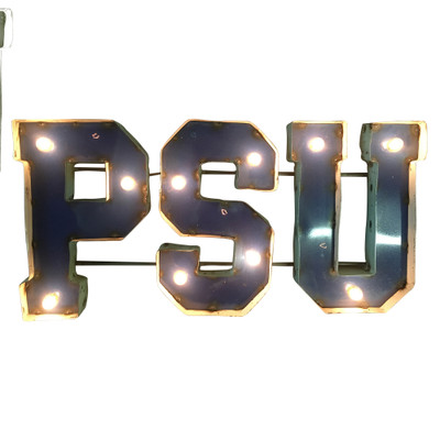 Penn State Nittany Lions Recycled Metal Wall Decor PSU Illuminated | LRT SALES | PSULGT